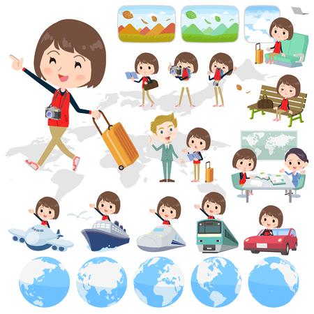 Store staff red uniform women travel 向量圖像
