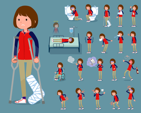 Woman in red vest in different gestures, set Vector illustration.