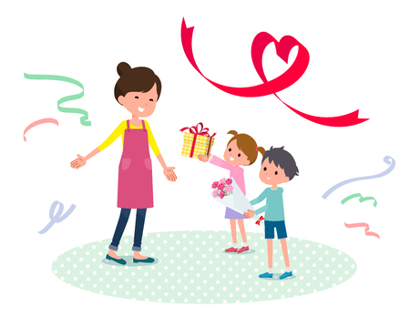 Children giving gift to their mother. 免版税图像 - 98544570