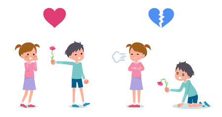 boy giving flowers to girl. girl rejects boy. set Vector illustration.