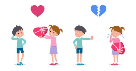 Chica dando un regalo al niño. El chico rechaza a la chica. Establecer ilustración vectorial. Ilustración de vector