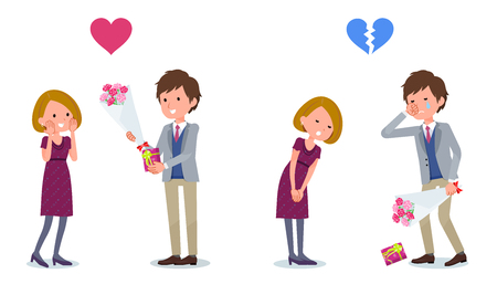 Mann Mädchen Blumen schenken. Mädchen lehnt Jungen ab. Vektor-Illustration festgelegt.