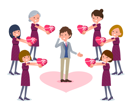 Woman giving gifts on man illustration