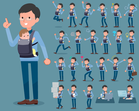 A flat type Dad and baby isolated on plain blue background. Illustration