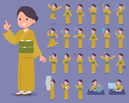 Collection of lady wearing kimono doing various activities.
