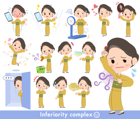Kimono yellow ocher women illustration.