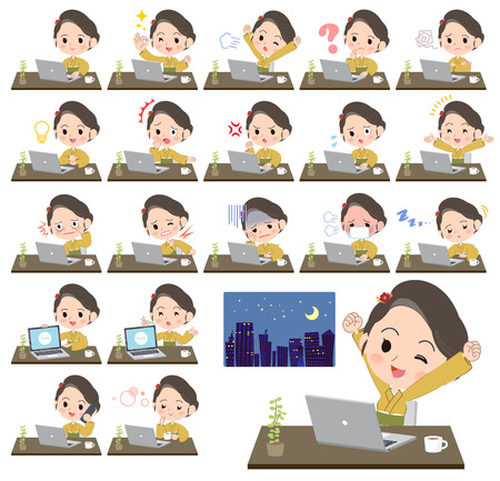 Woman working at desk concept vector illustration set
