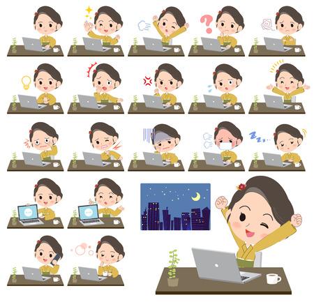 Woman working at desk concept vector illustration set