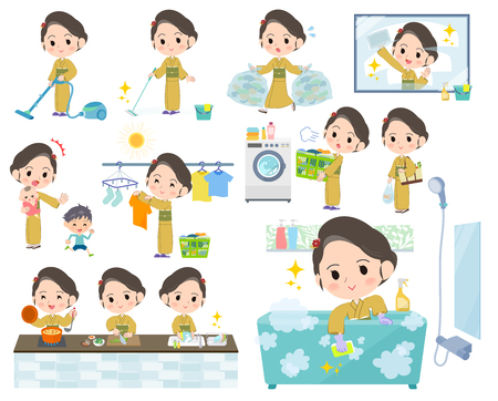 kimono Yellow ocher women_Housekeeping Stock Illustratie