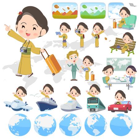 A kimono Yellow ocher women_travel