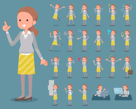 Set of action icons of a brown haired woman in grey shirt and yellow skirt. Ilustração