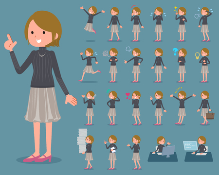 Set of actions of short haired woman in black sweatshirt and grayish skirt.