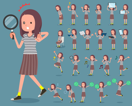 Flat type long hair women doing different tasks.