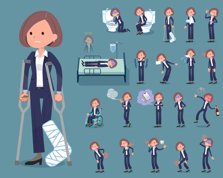 Flat type Black jacket pants business women with different sickness. Stock Illustratie