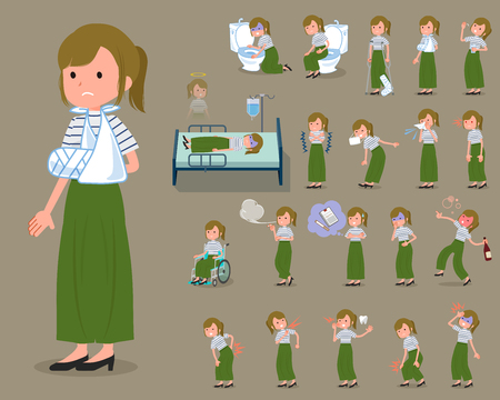 Collection of  sick female avatar with different activities and expressions. Vectores