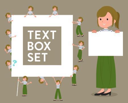 フラットタイプカーキワイドパンツは、women_textボックスを着用  イラスト・ベクター素材