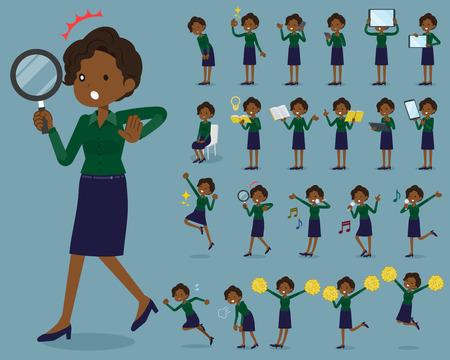 flat type business black women vector illustration set 矢量图像