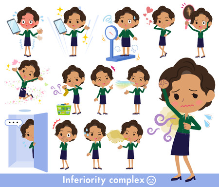 Various poses of business woman with inferiority complex.