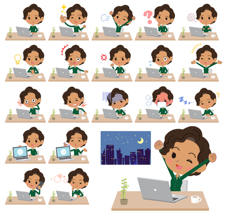 Set of various poses of business black women Illustration