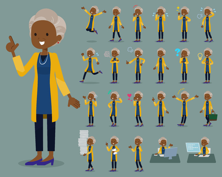 Flat type cardigan black old women in different poses. Illustration