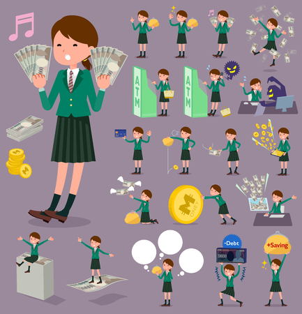flat type school girl Green Blazer_money Vector Illustration