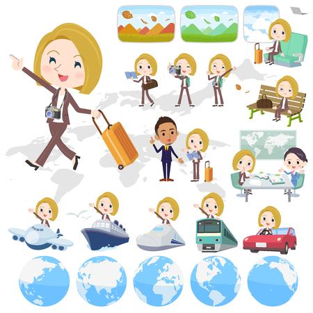 blond hair business women_travel 向量圖像