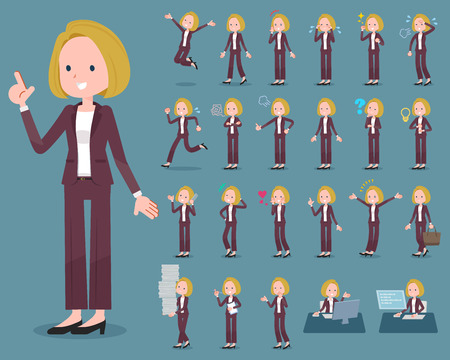 Flat type blond hair business women in different poses. Illustration