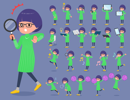 flat type Green clothes Glasses girl_2 일러스트