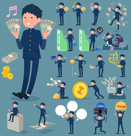 Flat type school boy, getting money concept.