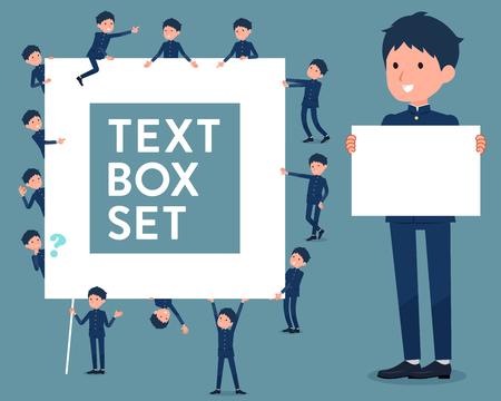 Flat type school boy with text box Illustration