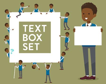 flat type school boy with text box
