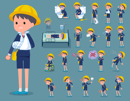 Nursery School boy with various injuries activities. Illustration