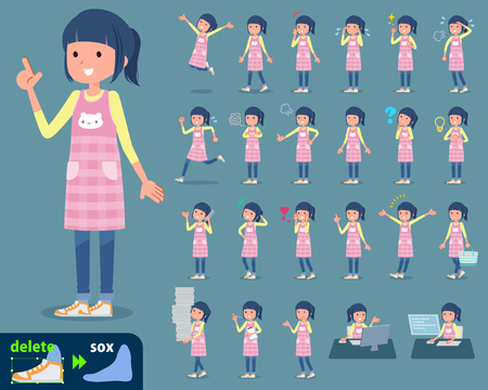 Babysitter in different actions icon set on color background. Vector illustration. Illustration