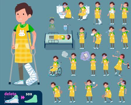 A flat type Childminder men_sickness isolated on plain blue background Illustration