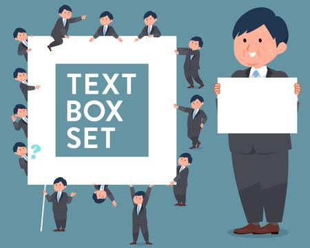 Set of flat type fat business man holding a text box Ilustração