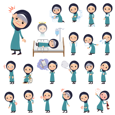 Arab old women having sickness  イラスト・ベクター素材