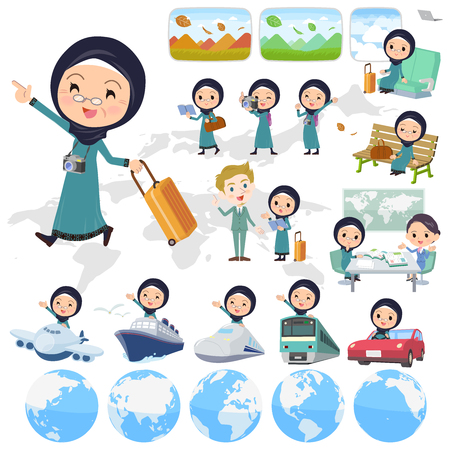 Arab old women traveling