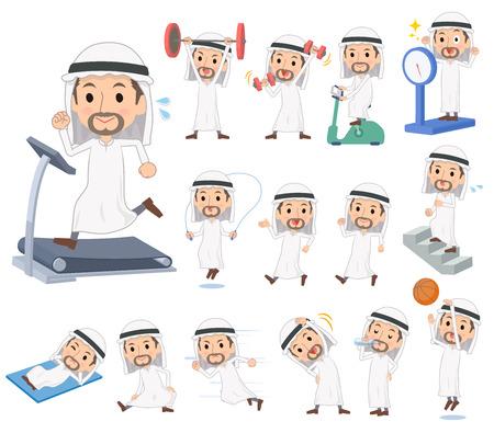 Arab Kandura wearing men doing exercise