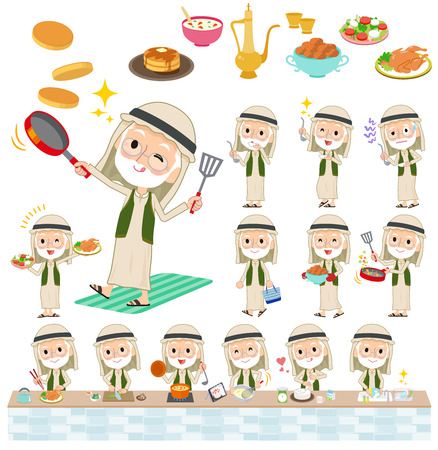 Arab Kandura wearing old men cooking Illustration