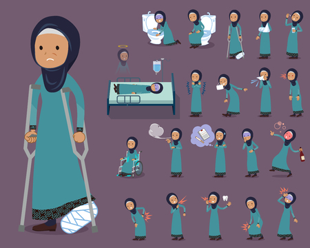 Flat type Arab old women in different sickness