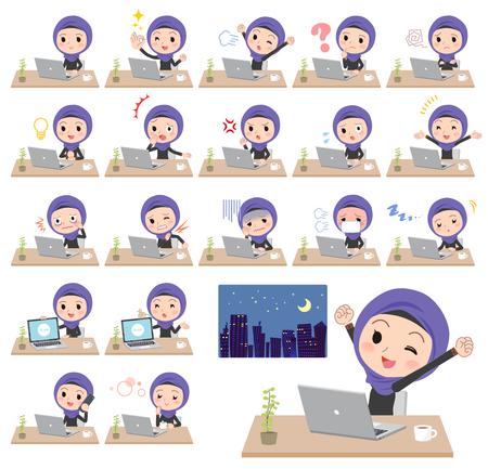 Arab women with desk work Illustration