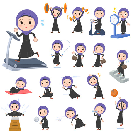 Arab women in sports and exercise Illustration
