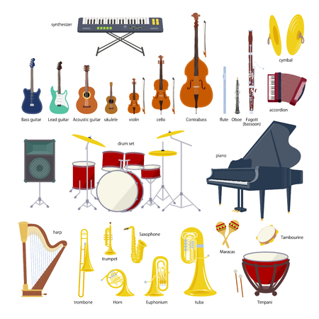 Musical instrument set illustration on white background. Stock Illustratie