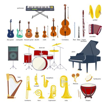 Musikinstrumentensatzillustration auf weißem Hintergrund.