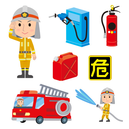 Firefighter man With fire engine