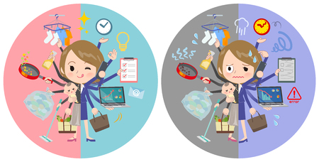 A set of women who perform multitasking in offices and private.