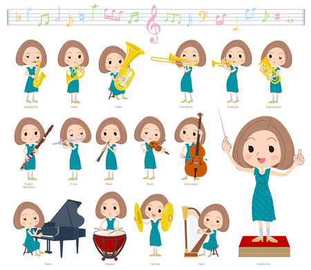 A set of women on classical music performances.There are actions to play various instruments such as string instruments and wind instruments.It's vector art so it's easy to edit. Archivio Fotografico - 103123705