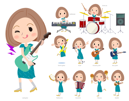 A set of women playing rock 'n' roll and pop music.There are also various instruments such as ukulele and tambourine.It's vector art so it's easy to edit.