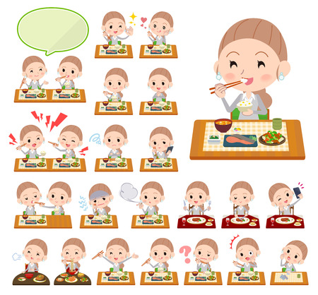 A set of women about meals. Japanese and Chinese cuisine, Western style dishes and so on. Its vector art so its easy to edit. Illustration