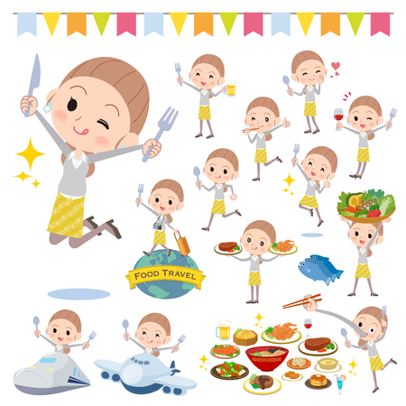 A set of women on food events. There are actions that have a fork and a spoon and are having fun. Its vector art so its easy to edit. Illustration